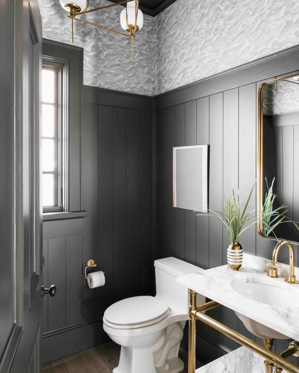 Decadent Powder Room With Wide Vertical Shiplap And Cole