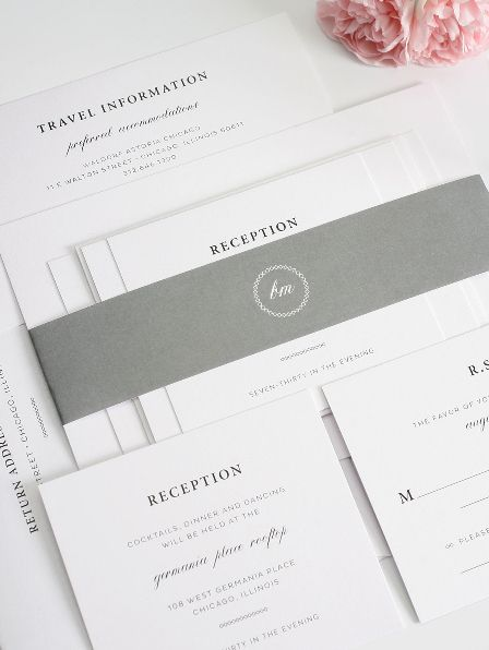 Classic Wedding Invitation Suite in Grey and White