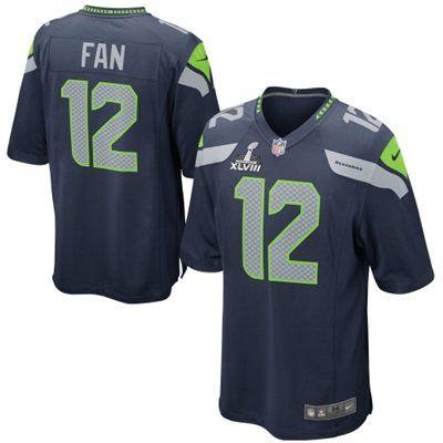 f68ef4588 Nike Seattle Seahawks 12th Fan Super Bowl XLVIII Game Jersey  SB48 ...