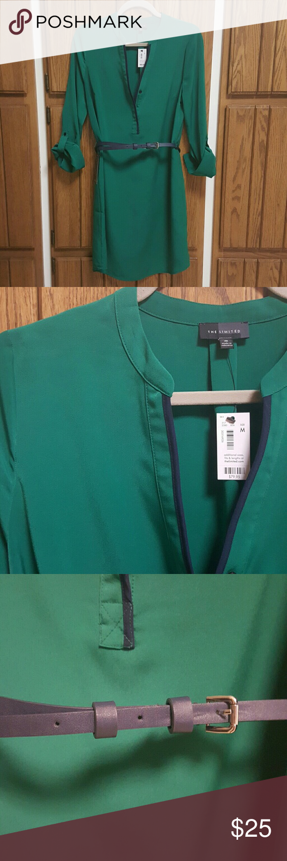 NWT The Limited Ashton Shirt Dress NWT The Limited Shirt Dress with navy belt; belt had silver hardware; emerald green with navy trim; smoke/pet free home The Limited Dresses Long Sleeve