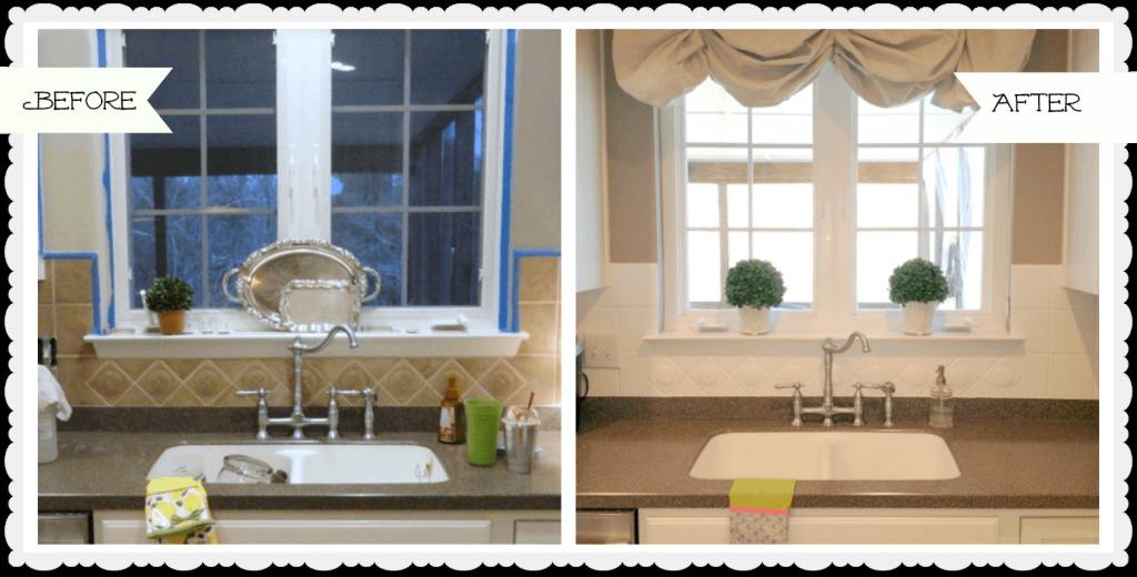 Painted Ceramic Tile Backsplash In My Kitchen A Year Later Ceramic Tile Backsplash Painting Kitchen Tiles Kitchen Tiles Backsplash