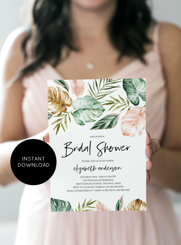 Tropical bridal shower invitation blush shower invitation