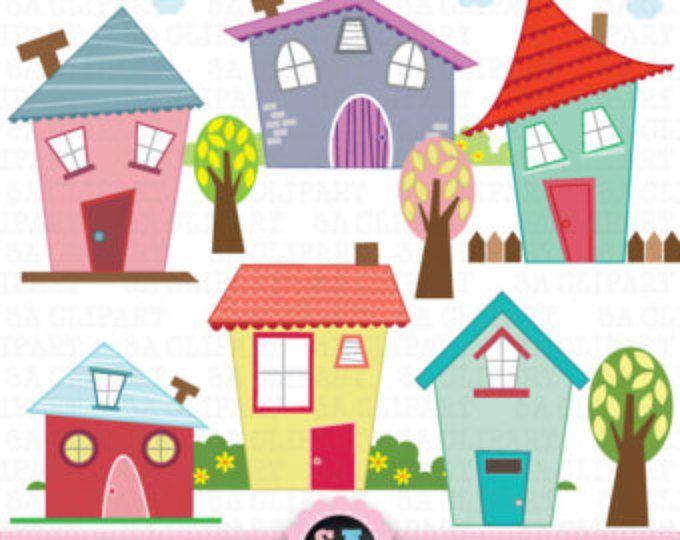 Little Houses Digital Clipart Etsy House Clipart Cute House Digital Clip Art