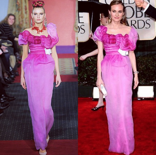 From runway to 2010 #GoldenGlobes red carpet. Diane Kruger is pretty in pink wearing Spring 2009 Christian Lacroix Haute Couture. How elegant!