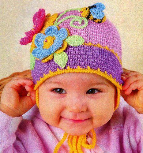 Цветная шапочка для малышки крючком