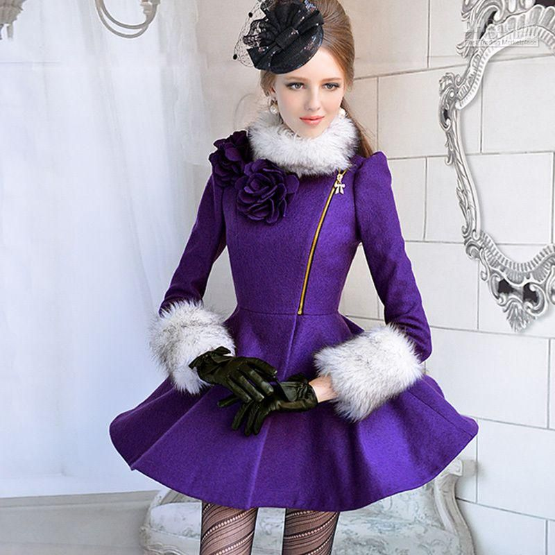 Wholesale Purple fur collar flower wool coat coats for women, Free ...
