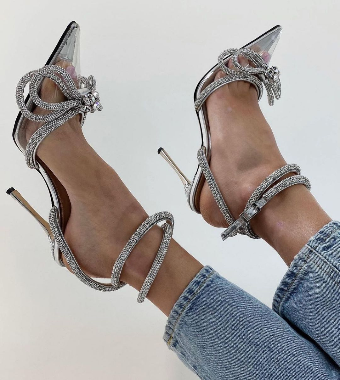 Details about  /Womens Fashion Leather Pointed Toe Diamante High Heel Ankle Boots Party Shoes MN