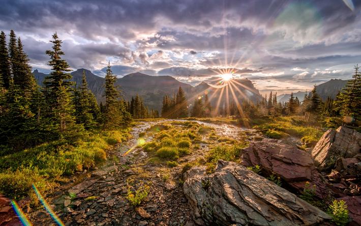 Scarica sfondi Tramonto, montagne, in montagna, fiume di montagna, paesaggio di montagna, terrazza