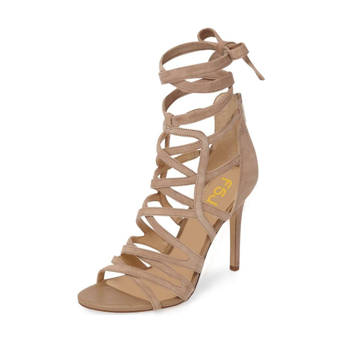 dbfe19fcd580  elegantshoegirl  peeptoeheels Love these Khaki Strappy Sandals Sexy Open  Toe Suede Women s Stiletto Heels