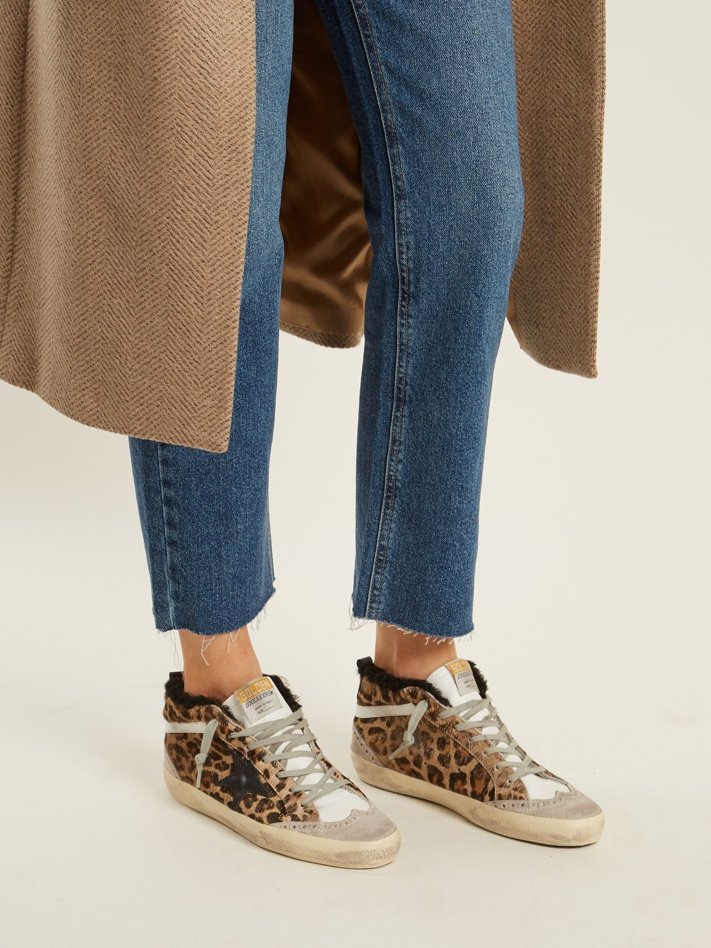 aa1731ed2aaf Golden Goose Deluxe Brand Mid Star leopard-print shearling-lined trainers  at MATCHESFASHION.