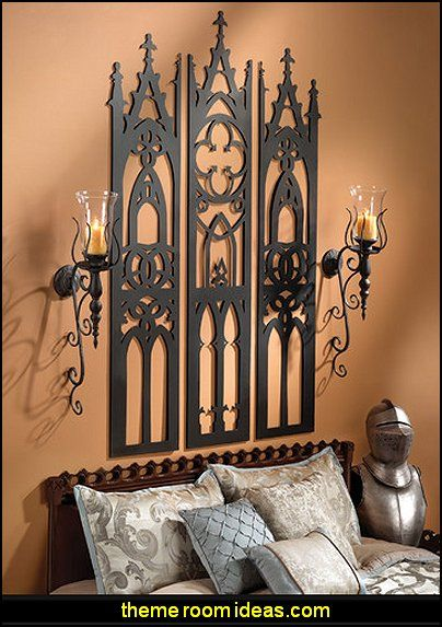 gothic cathedral triptych metal wall sculpture gothic bedroom decorgoth - Goth Bedroom Decorating Ideas