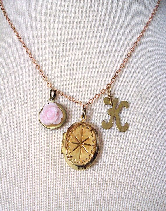 Initials Letter Vintage Brass Locket Charm by LaToucheDesigns, $28.00