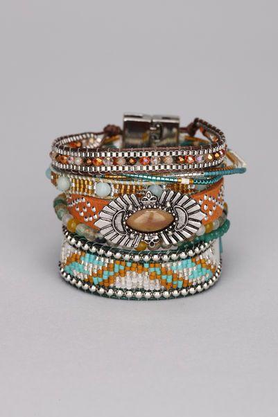 Multi bracelets cuir et métal Forest 1