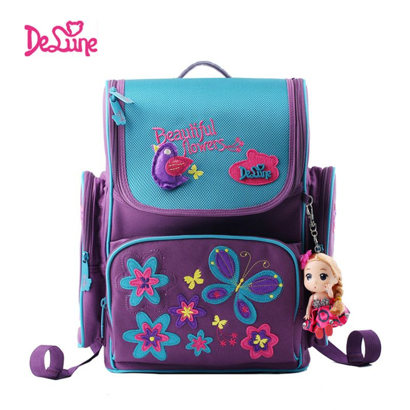Delune kids cartoon backpacks school backpack children orthopedic school  supplies school bags for girls kids backpack 6db1d77fdabaa