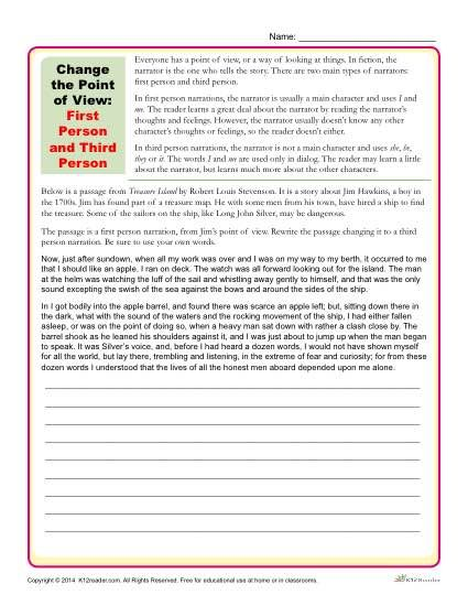 Change The Point Of View Worksheet 1st And 3rd Person Writing Sight Word Education Literacy How To Write An Essay In Third