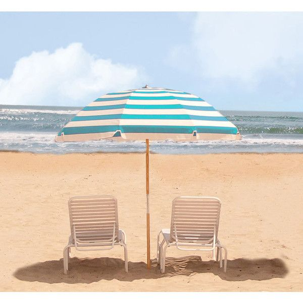 7 5 Ft Frankford Wood Pole Beach Spf 50 Umbrella Acrylic Fabric Liked On Polyvore