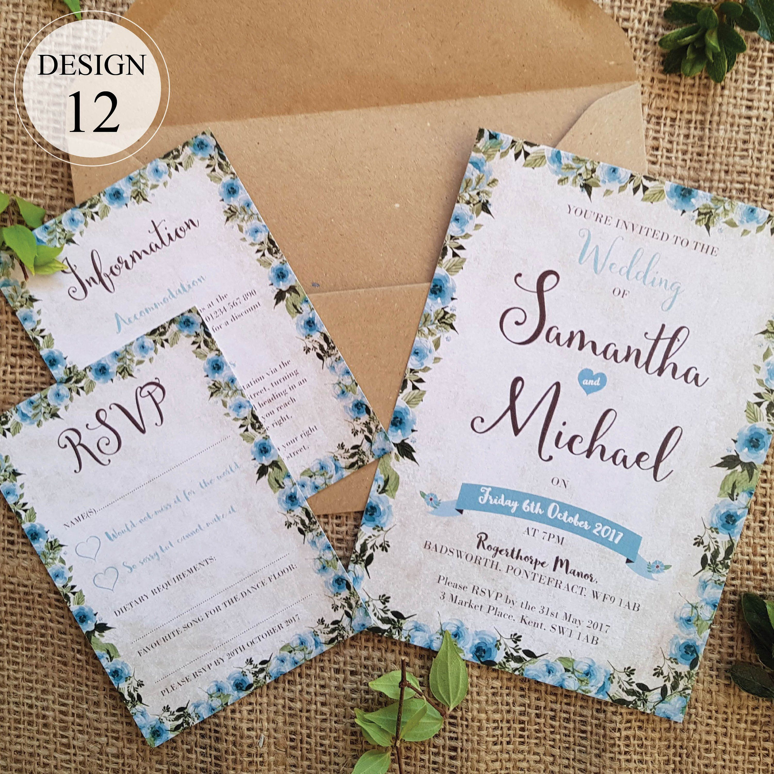 Blue country cottage wedding invitation with rsvp card