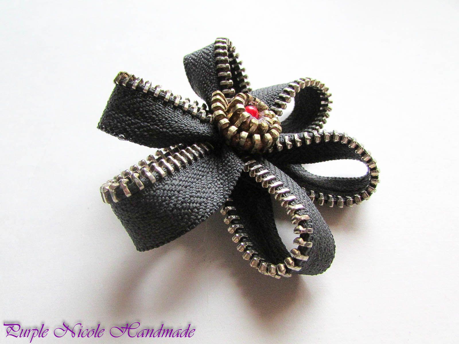 Black Dahlia Handmade Zipper Broach by Purple Nicole