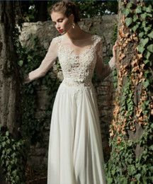 Online Shopping Bateau A-line Backless Wedding Dress Sheer Sleeve Applique Ribbon Wow Chiffon Lace Berta Bridal Winter Long Sleeve Wedding Dresses 106.53 | m.dhgate.com