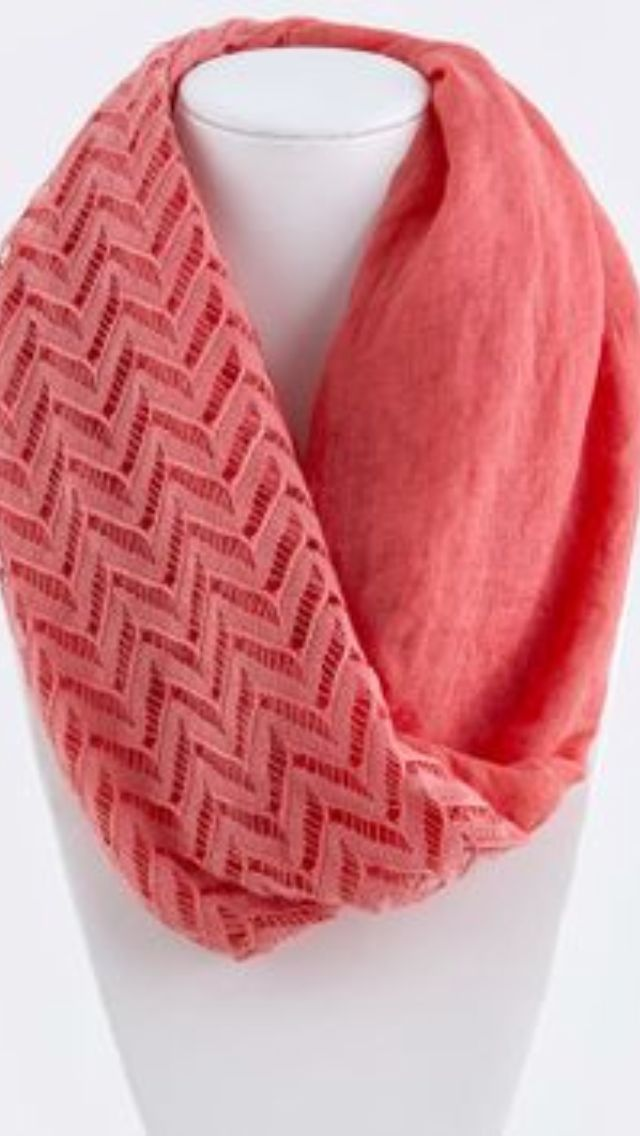 B103 Eternity Lace Double Layer Coral Chevron Pattern Infinity Scarf ...