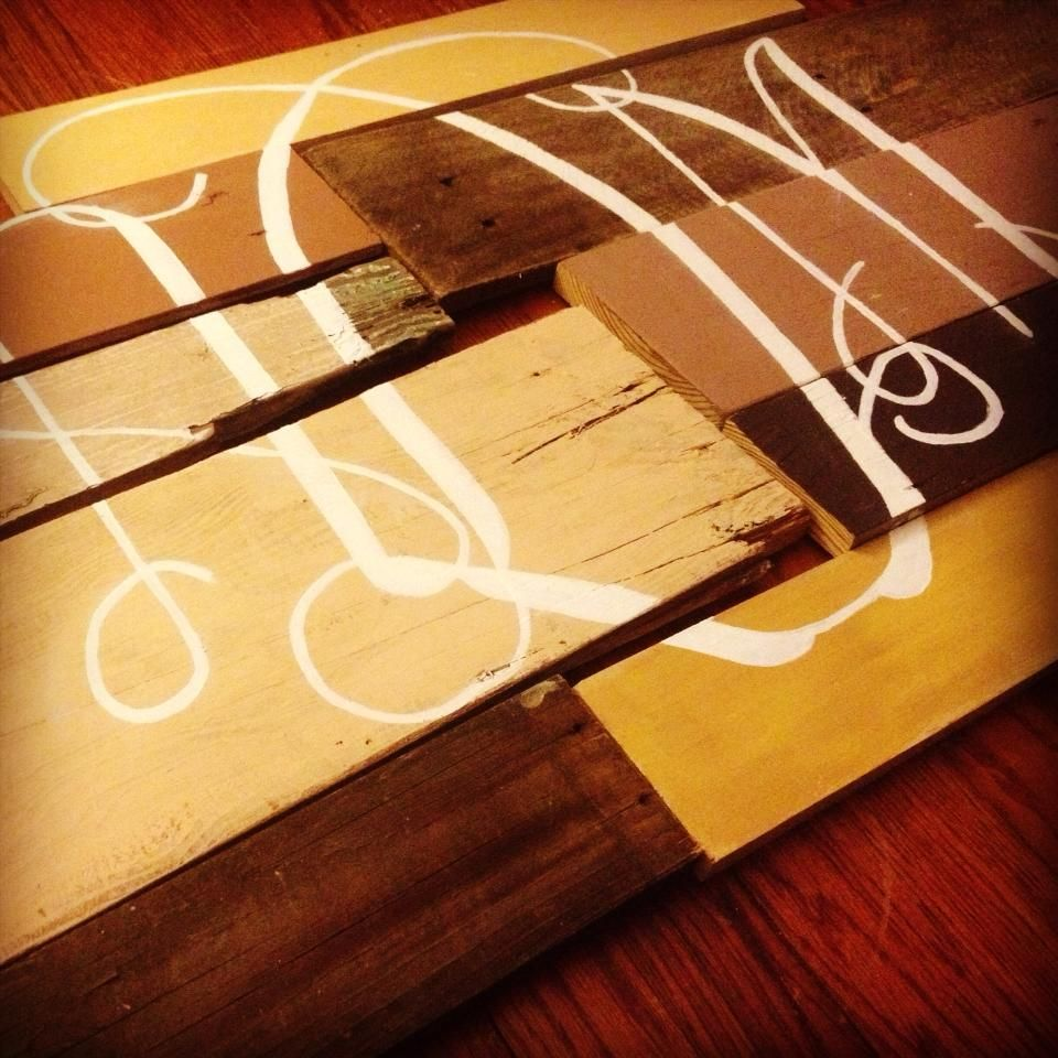 Gorgeous monogrammed wall art. Made with scrap wood and hand painted ...