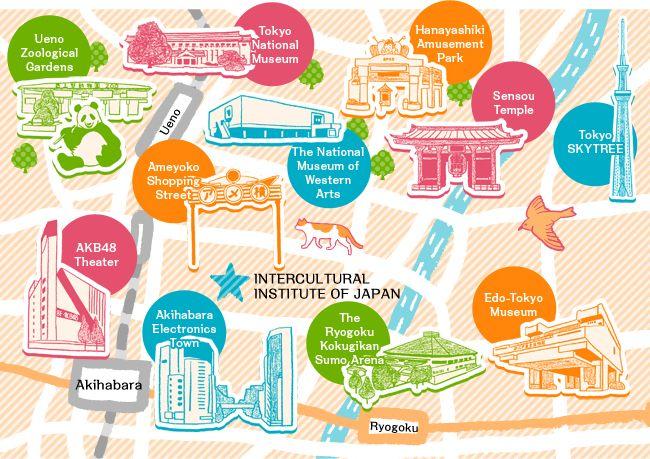 Akihabara Asakusa Ueno visitors map a day in Tokyo Pinterest