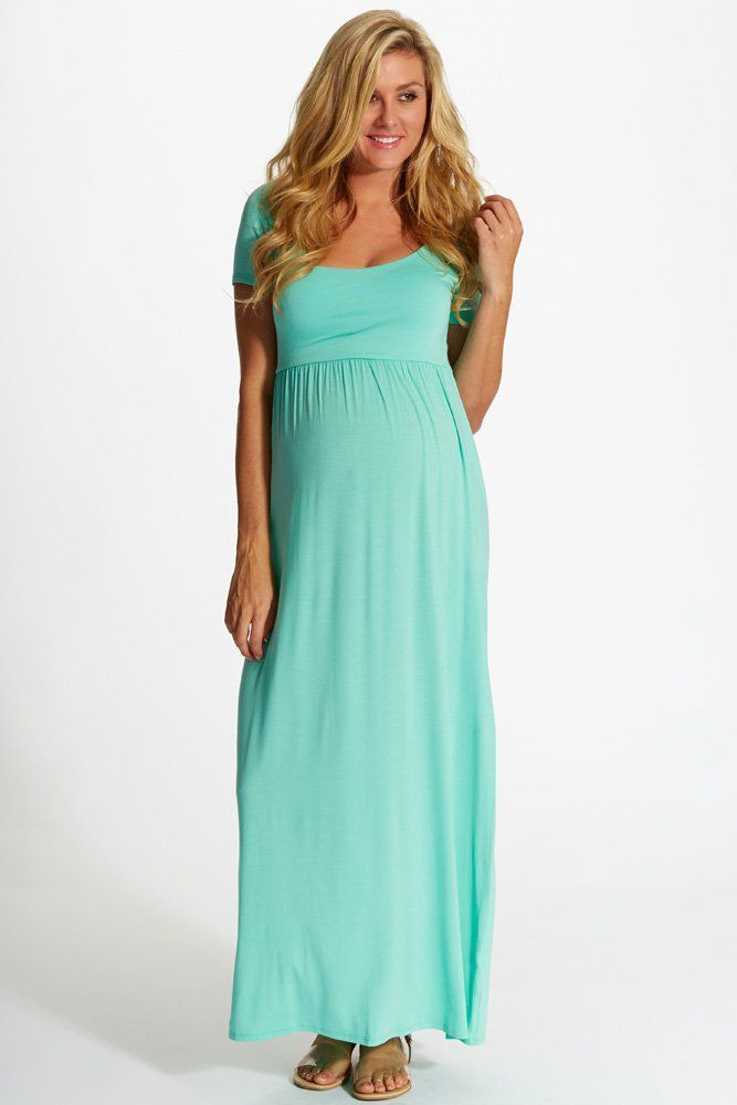 Green Solid Short Sleeve Maternity Maxi Dress | Maternity maxi and ...
