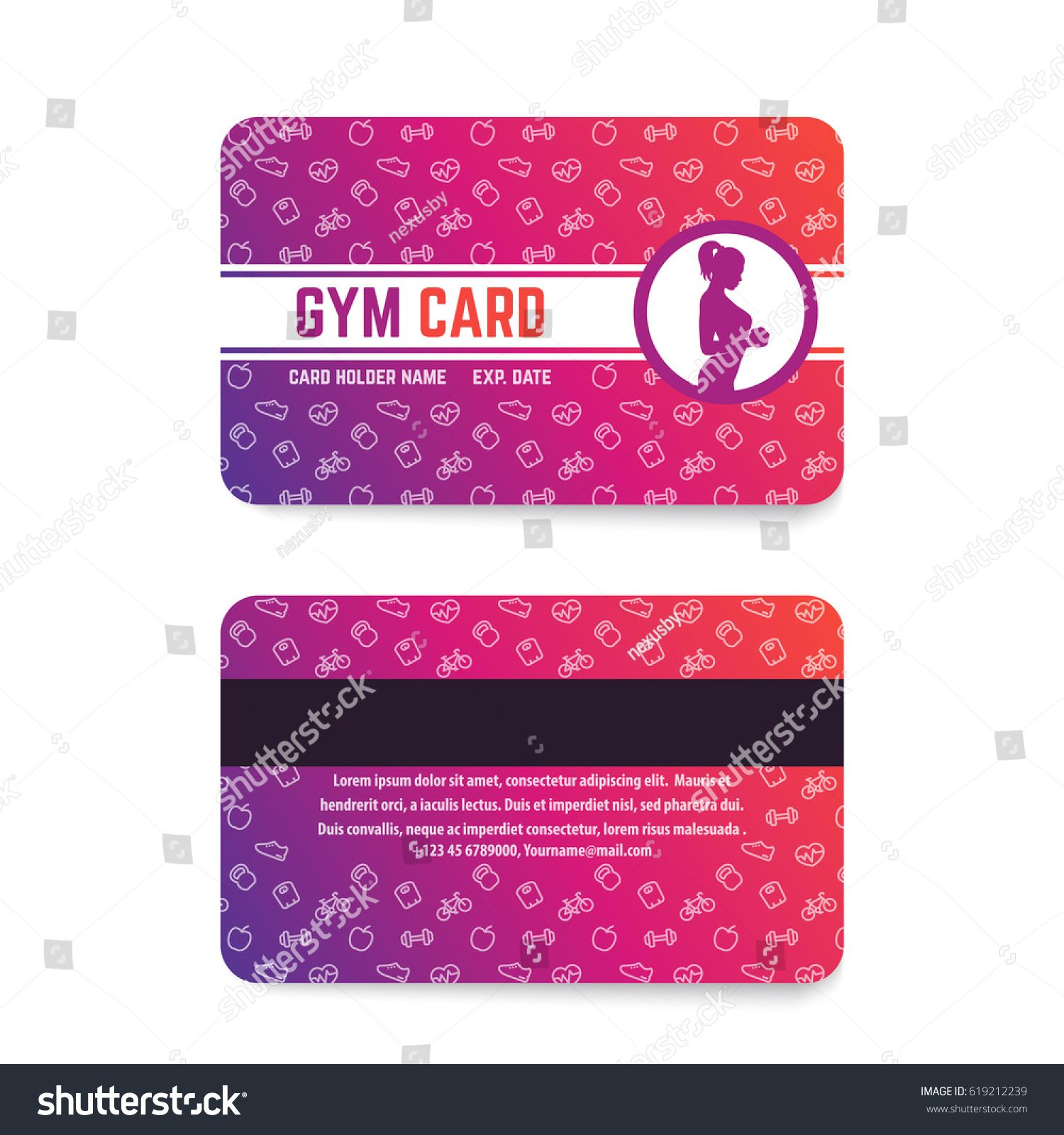 The Outstanding Fitness Club Gym Card Template Stock Vector Royalty Free Pertaining To Gym Membership Card Te Gym Membership Card Membership Card Fitness Club
