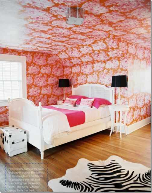 Fabulous Pink And Orange Toile Wallpaper In This Girls Bedroom By