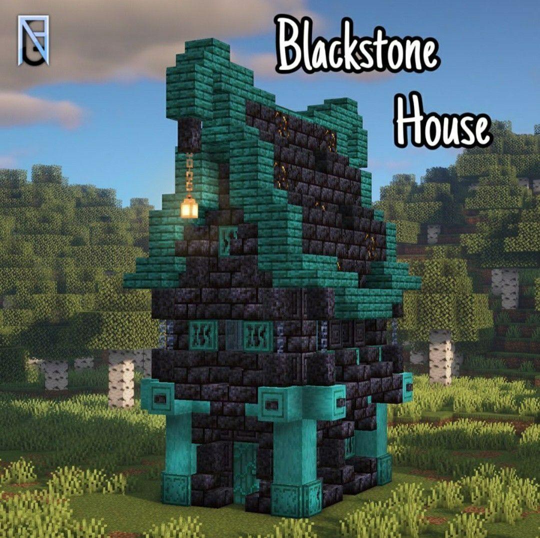 Blackstone House Warped Wood Nether New Minecraft Design Minecraft Crafts Minecraft Minecraft Projects