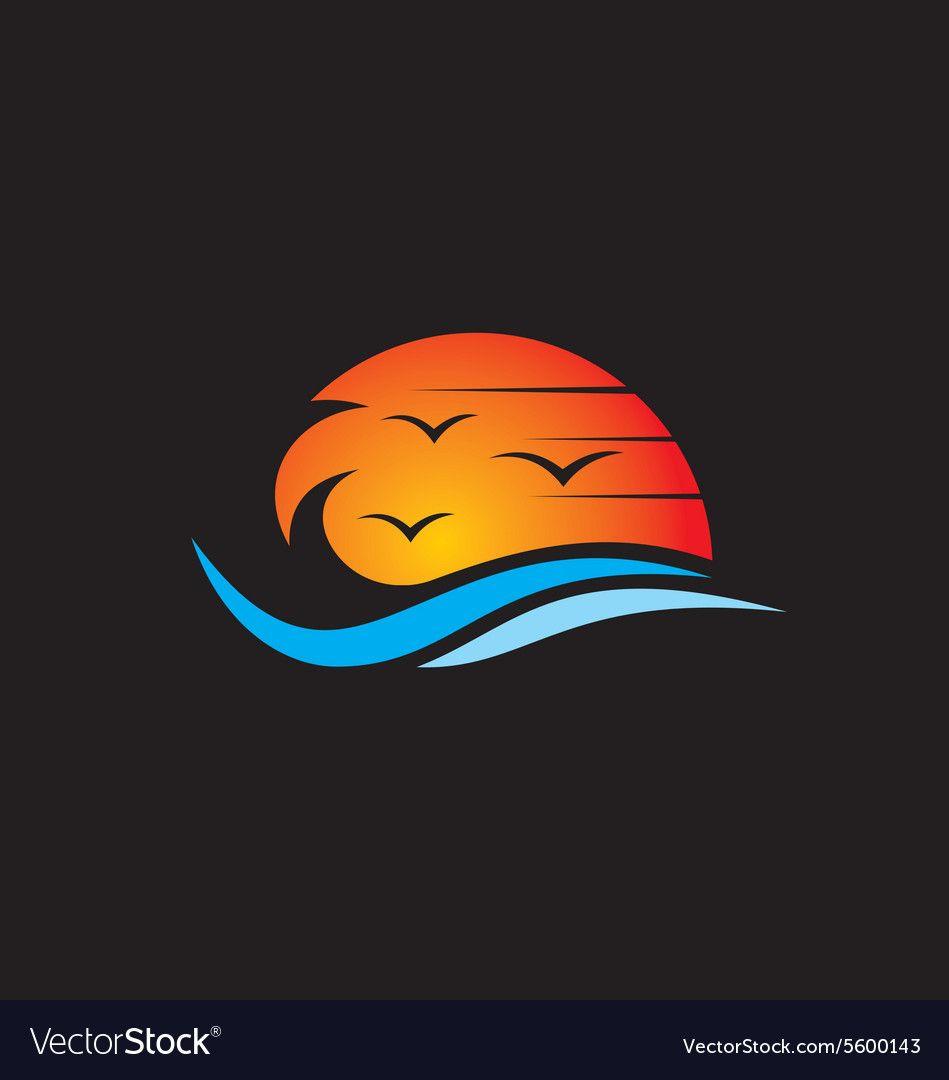 Beach sunset abstract logo vector image on | Dibujos para ...