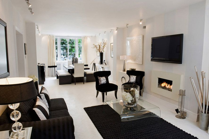 Black And White Living Room Interior Design Ideas White