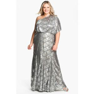 Adrianna Papell One Shoulder Foil Finish Gown Plus Size Moms