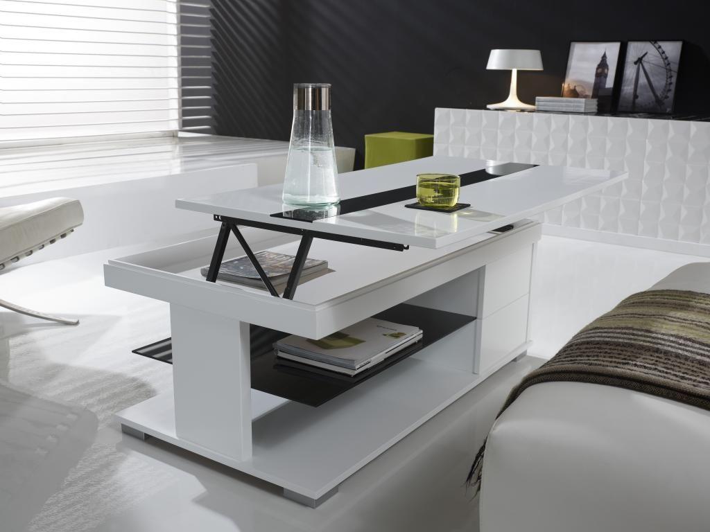 Table Basse Design Relevable DOLCE Avec Tiroirs Coloris Blanc - Table de salon transformable en table de salle a manger ikea