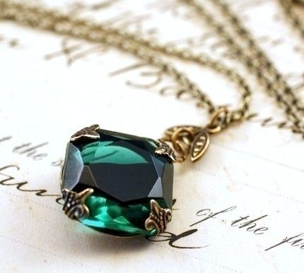 Emerald jewel necklace brass mayfair vintage style green gem crystal May birthstone etsy.com