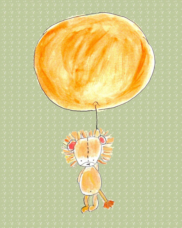 Nursery Art Print, Kids Wall Art, Lionness With Pink Balloon, 8x10 ...