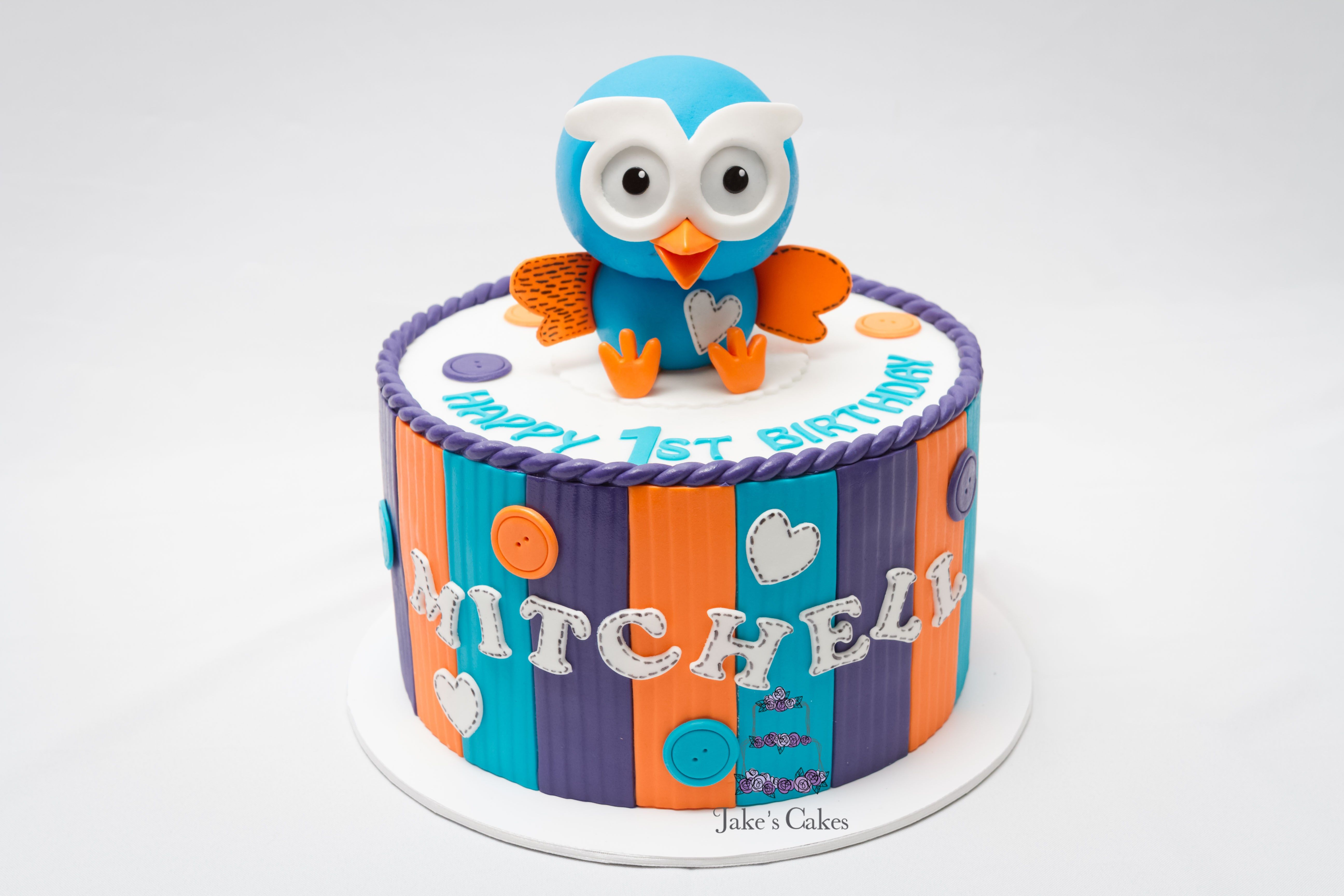 Handmade sugar Hoot for little Mitchell's first Birthday.