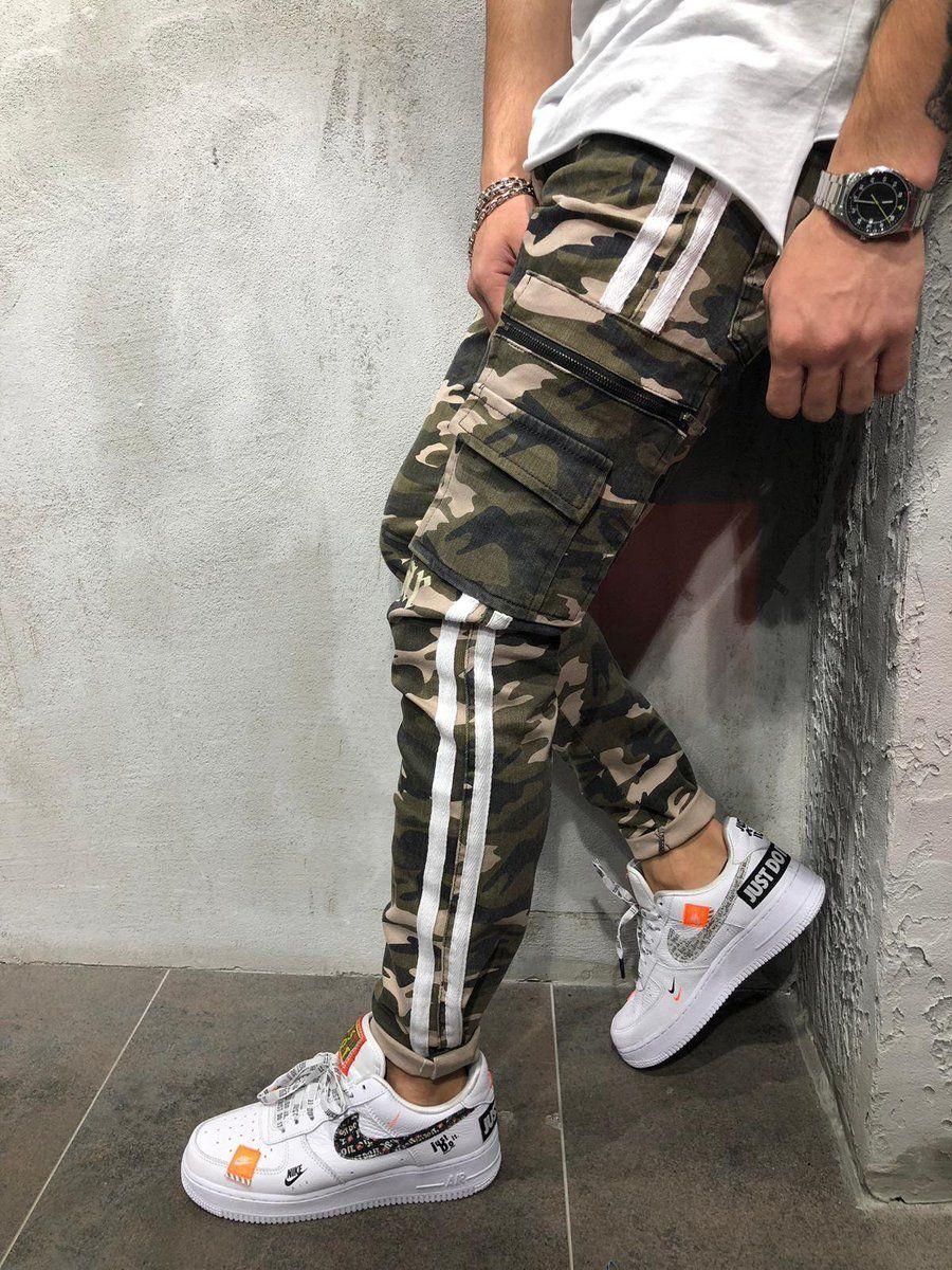 Cargo Camouflage Stripe Jeans #menstreetstyles
