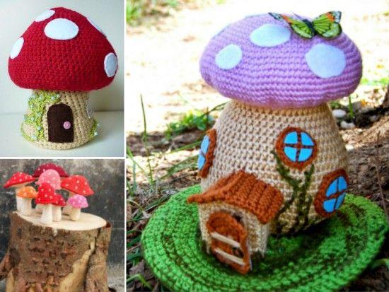 Tutorial Elfi Amigurumi : Crochet mushroom house lots of free patterns gnomi elfi e amigurumi
