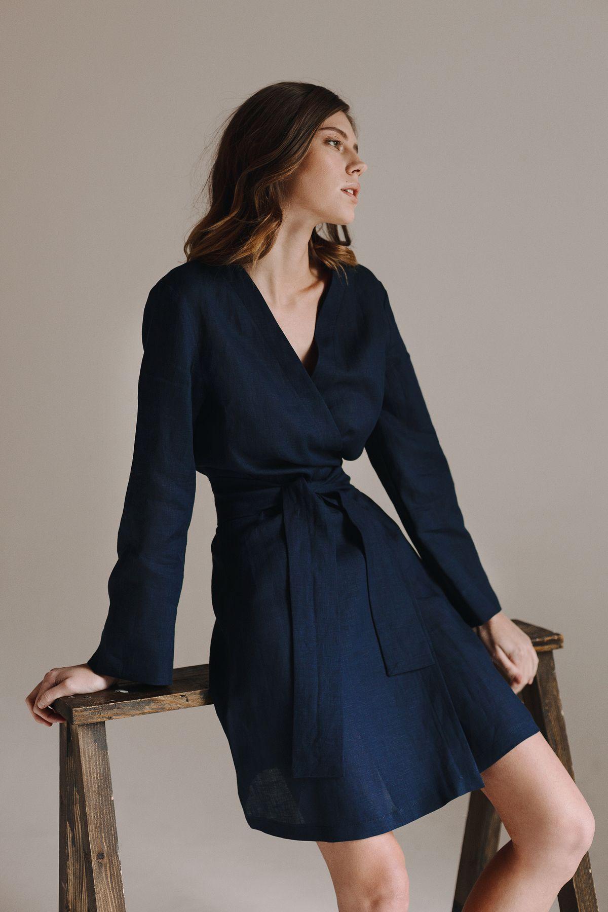 f401814bdc Linen wrap dress. Dressing gown. Kimono dressing gown. Kimono robe ...