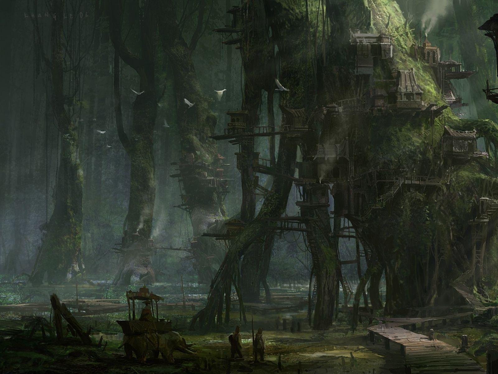 Fantasy Swamp Art 1600x1200 Town Artwork