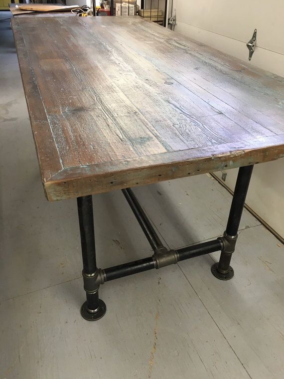 Delightful Reclaimed Wood Table 30 X 70 With 3/4 Pipe Base Counter Height Base  Weathered