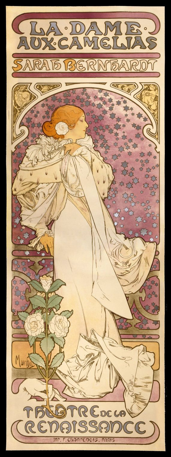 NEW Fine Arts Poster The Lady of the Camellias 1896 by Alfons Mucha