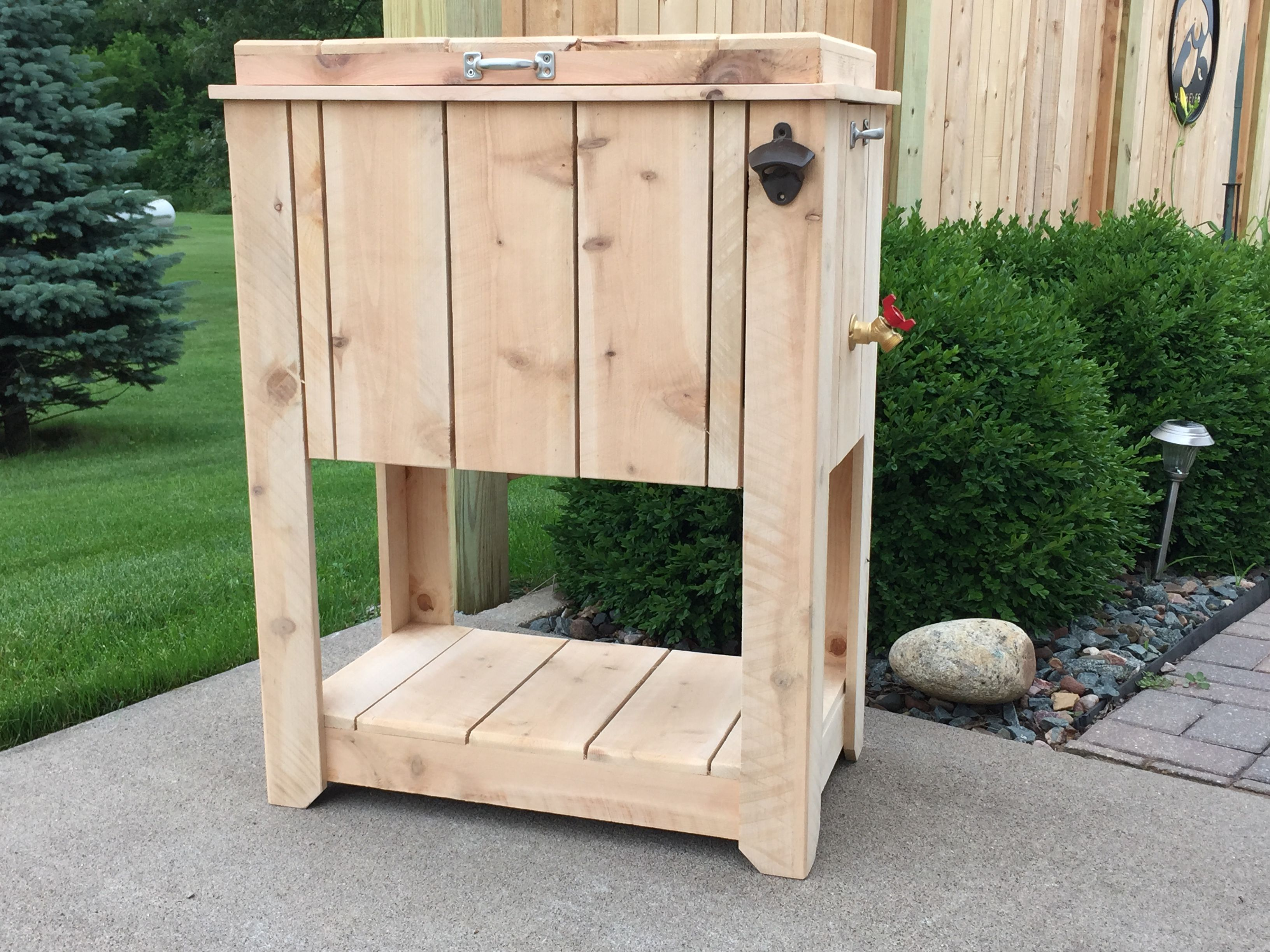 Cedar Ice Chest patio cooler (unfinished) customize to your own taste.