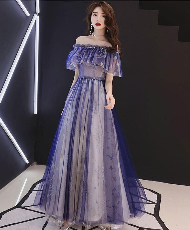 Blue tulle lace tea length prom dress, blue tulle evening dress