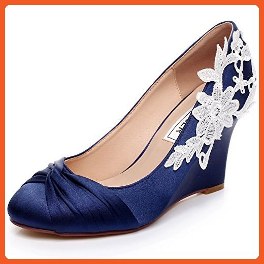 4c94db79eed LUXVEER Dark Blue Wedding Wedges with Lace Ivory
