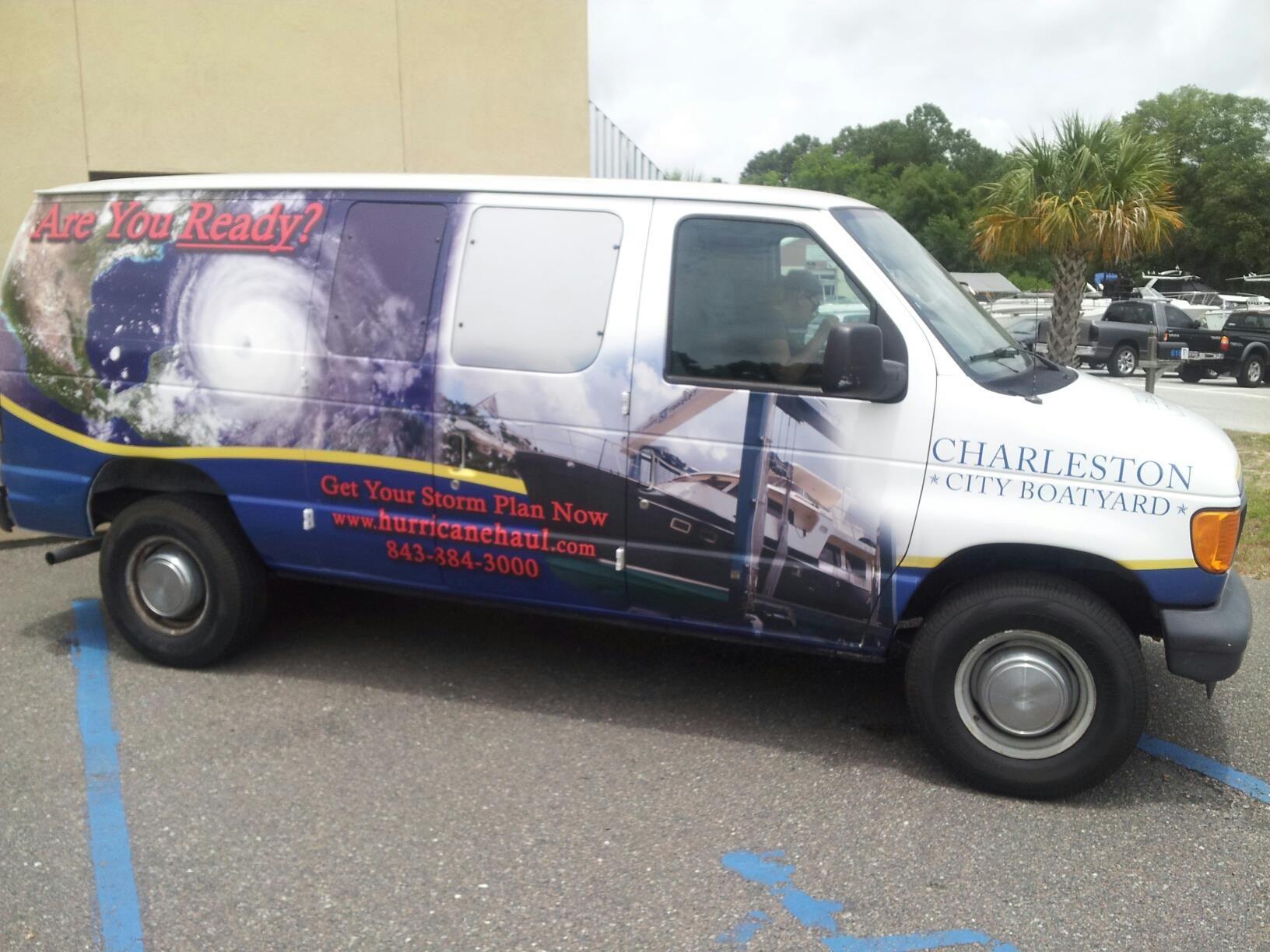 Charleston City Boat Yard Hurricane Van Completed By Pleasant Details Van Car Wrap Boat