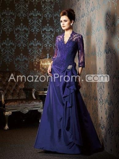 b4fb24af09056 A-line/Princess V-neck 3/4 Sleeves Lace Floor-length Satin Mother of the  Bride Dress