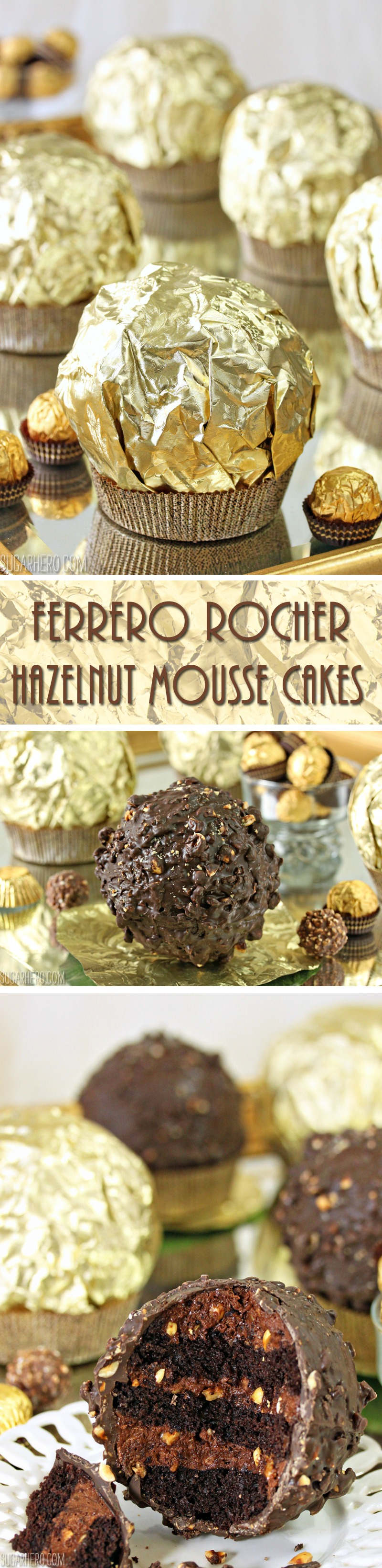 Giant Ferrero Rocher Hazelnut Mousse Cakes - they look like huge Ferrero Rocher candies, but they're filled with layers of chocolate cake and hazelnut mousse!