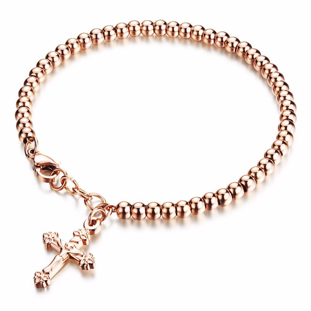 Hot sell fashion girls cross pendant bracelets beaded stainless